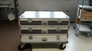 Flight cases gestapeld